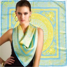 "VERSACE aqua & yellow SIRENS & MEDUSA Myth Baroque 34"" large scarf NEW Authentic"