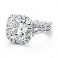 3.01 Ct Halo Cushion Cut Diamond 3-Row Curve Shank Engagement Ring F,VS1 EGL 14K