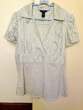 ♥ MNG Stripes Short Sleeves Fitted Shirt S ♥