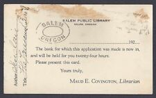Ca 1922 P.C. SALEM OR PUBLIC LIBRARY ADVISES BOOK IS NOW IN, GLUE STAINS