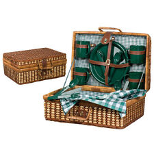 LUXURY RATTAN  PICNIC HAMPER BASKET 4 PEOPLE INCLUDES CUTLERY PLATES CUPS (6604)