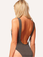 Womens Cotton Scoop Neck Dipped Back Grey* Backless Bodysuit Leotard Top 8 10 12