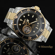 Invicta Pro Diver Automatic 18k Gold 2 Tone Black Skeleton Dial 40mm Mens Watch