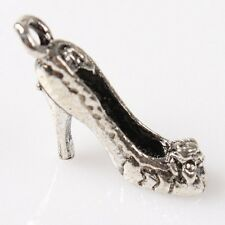 200pcs Wholesale Charms High-heeled Shoes Silvery Alloy Pendant Jewelry Making C