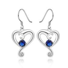 925 Silver Plated Sapphire Swirl Heart Drop Dangle Earrings, Lovely Ladies Gift