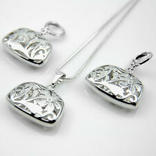 White Gold GF filigree flower handbag or purse shape charm necklace earrings set