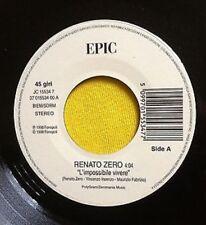 """RENATO ZERO - L'IMPOSSIBILE VIVERE - VINILE 7"""" - JUKE BOX - 1998 - RARITA !!"""