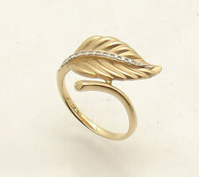 0.18 tcw Genuine Natural Diamond Leaf Design Ring REAL Solid 14K Yellow Gold