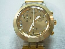 SWATCH IRONY FULL BLOODED CHRONOGRAPH DIAPHANE GOLD UNISEX DATE WATCH ~ LOOK!!