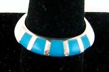 TURQUOISE INLAID STRIPE FLAT DOME SILVER RING SIZE 6 (69056)