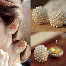 Fashion Women White Beads Pearl Ear Stud Gold Plated Earrings Party Jewelry Gift