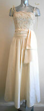 VINTAGE 70S GLAMOROUS CREAM SEQUIN STRAPPY WEDDING FORMAL JETSET MAXI DRESS 8 10