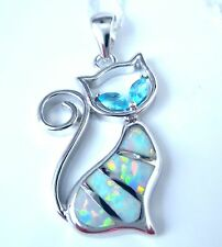 "GORGEOUS STYLISH WHITE FIRE OPAL/AQUAMARINE CAT PENDANT  +  18"" SILVER CHAIN"