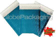 100 x SHINY METALLIC GLOSS BLUE FOIL BUBBLE PADDED ENVELOPES BAGS 180x250mm D/1