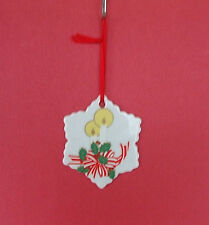 Class Christmas Tree Ornament Decoration White Snowflake Painted Candle Holly 3""