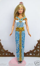 Handmade Sky Gold Thai Vintage Outfit Dress For Barbie Muse Doll #2
