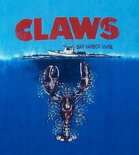 CLAWS / BAR HARBOR MAINE USA / JAWS LOBSTER OCEAN / BLUE DYED T- SHIRT SIZE M