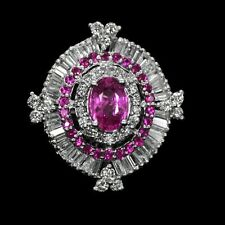 Certified by UGL-USA 14k W Gold Natural Unheated Ruby Diamond Valentine Ring !!!