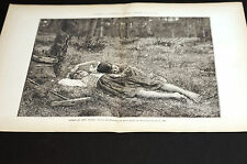 Souza Pinto BABES in the WOODS Children Resting in Forest 1890 Centerfold Print