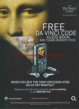 "Sony Ericsson K750i ""The DFavinci Code"" 2006 Magazine Advert #3126"