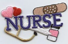 Iron On Embroidered Applique Patch Medical Blue Nurse Bandaid Heart Stethoscope