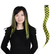 10 Checked Yellow Black Clip On In Hair Extensions EMO Scene 40cm