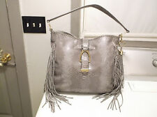 G.I.L.I.  STONE COBRA  PRINT LEATHER STIRRUP FRINGE TASSEL HOBO HANDBAG A271123