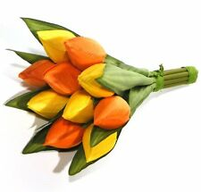 Artificial Yellow and Orange Mix Tulips - 10 Flower Bunch