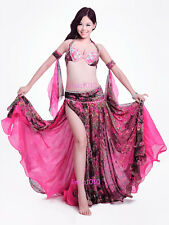 New Belly Dance Costume Outfit 4 Pics Bra&Belt&Skirt&Armbands 34B/C 36B/C 38B/C