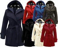 New Womens Ladies Girls Belted Fleece Coat Hooded Plus Size Jacket Top Size 8-20
