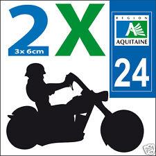 2 stickers autocollants style plaque immatriculation moto Département 24