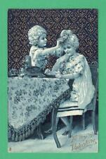 "1910 TUCK ""DAINTY DRESDEN"" SERIES VALENTINE POSTCARD BOY FLOWERS GIRL TABLE"