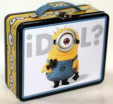 "DESPICABLE ME MINIONS 6"" x 7-3/4"" Tin Tote WORK HOBBY TOOL SNACK LUNCH BOX A New"