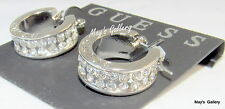 GUESS Jeans Ring Earring Earrings Hoop Silver Tone Rhinestones Charms  Charm NWT