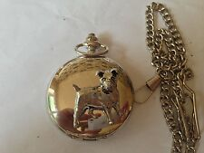 D13 Jack Russell Terrie  polished silver case mens GIFT quartz pocket watch fob
