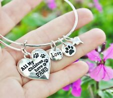 Pet Mom Expandable Wire Bangle Bracelet Paw Print Sterling Silver Plt Dog Cat
