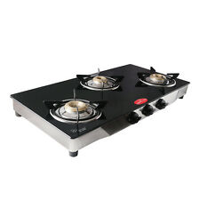 Smartflame Gas Stove 3 Burner Auto-Ignition Toughened Glass Brass Burners GT3BY