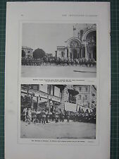1915 WWI WW1 PRINT ~ GERMAN TROOPS FORMAL ENTRY WARSAW ~ MILITARY BAND