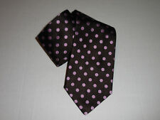 Burberry Of London Mens Classic Silk Brown Polka Dot Pattern Neck Silk Tie Italy