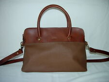 ESPRIT BROWN LEATHER & WOVEN HANDBAG w SHOULDER STRAP