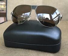 SALVATORE FERRAGAMO MEN'S SHINNY GUNMETAL  FRAME AVIATOR POLARIZED SUNGLASSES