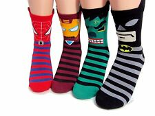 Avengers Marvel Character Socks 4 Pairs Color Iron Man Spider Kid Women Unisex
