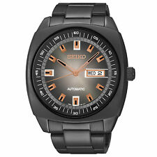 SEIKO SNKM99 MEN DAAY & DATE BLACK DIAL BLACK IP STAINLESS STEEL WATCH