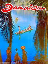 Jamaica Jamaican Caribbean Island Beach Vintage Travel Advertisement Art Poster