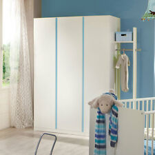 Kleiderschrank Babyzimmer Bibi 3-türig weiß mit Akzent iceblau Kinderzimmer
