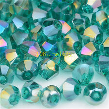 100pcs dark green ab exquisite Glass Crystal 4mm #5301 Bicone Beads loose beads