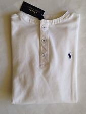 NWT Boys Polo Ralph Lauren White Long Sleeve Crewneck Henley Mesh Shirt M 10-12
