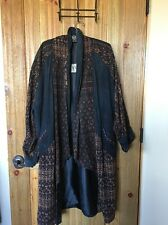 VIntage Dominique Designs Free flowing Long Coat Lamb skin And Cotton. Free Ship