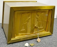 SMALLERSOLID BRASS TRAPEZOID TABERNACLE  WITH ORIGINAL KEY (CHURCH, CO.)