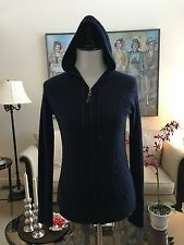 NWOT Fenn Wright Mason Navy Cable Knit Hoodie Zip Sweater Size L 100% Cashmere